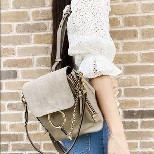 Chloe Faye Backpack Grey Suede Leather